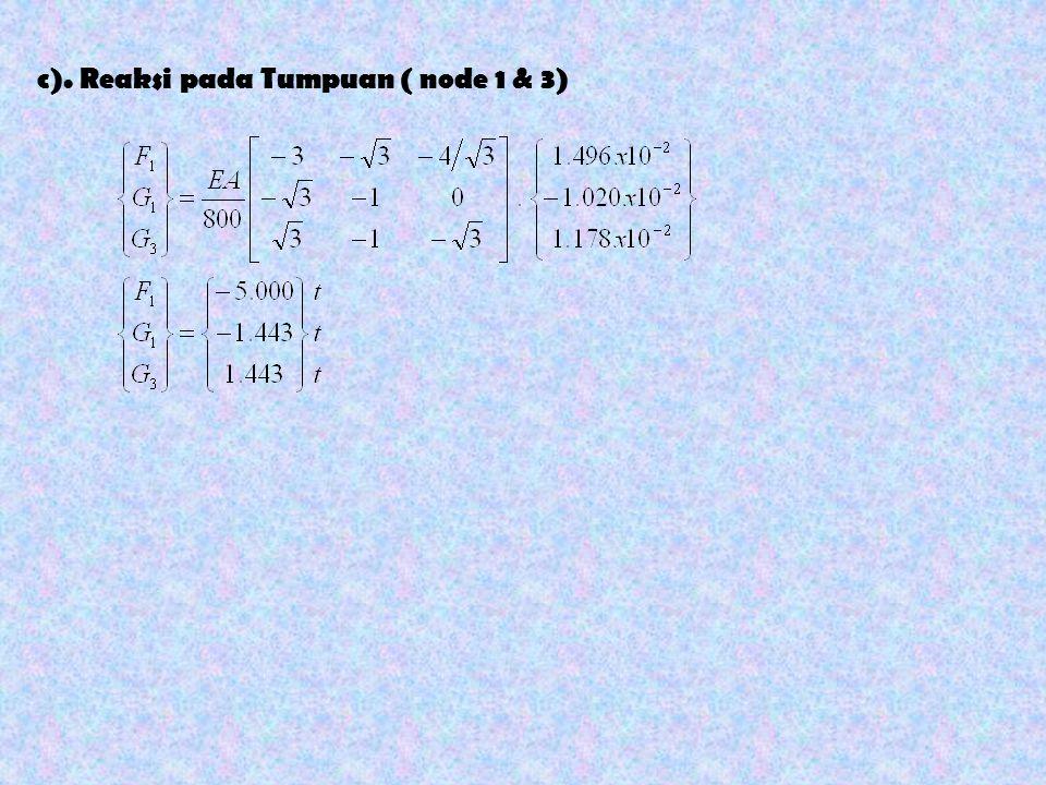 c). Reaksi pada Tumpuan ( node 1 & 3)