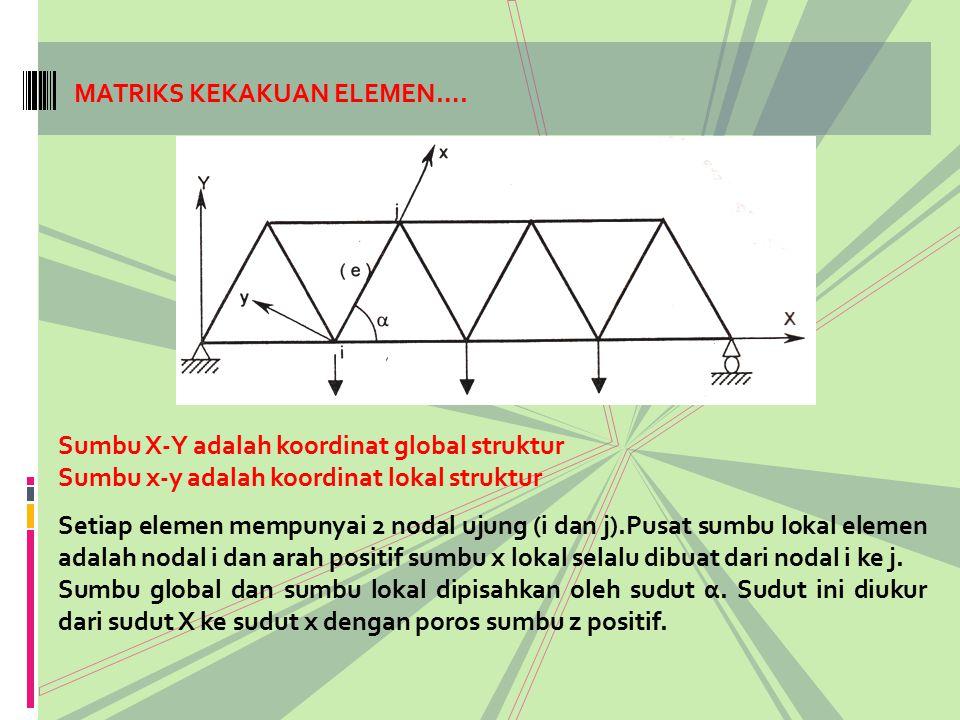 MATRIKS KEKAKUAN ELEMEN…. Sumbu X-Y adalah koordinat global struktur Sumbu x-y adalah koordinat lokal struktur Setiap elemen mempunyai 2 nodal ujung (
