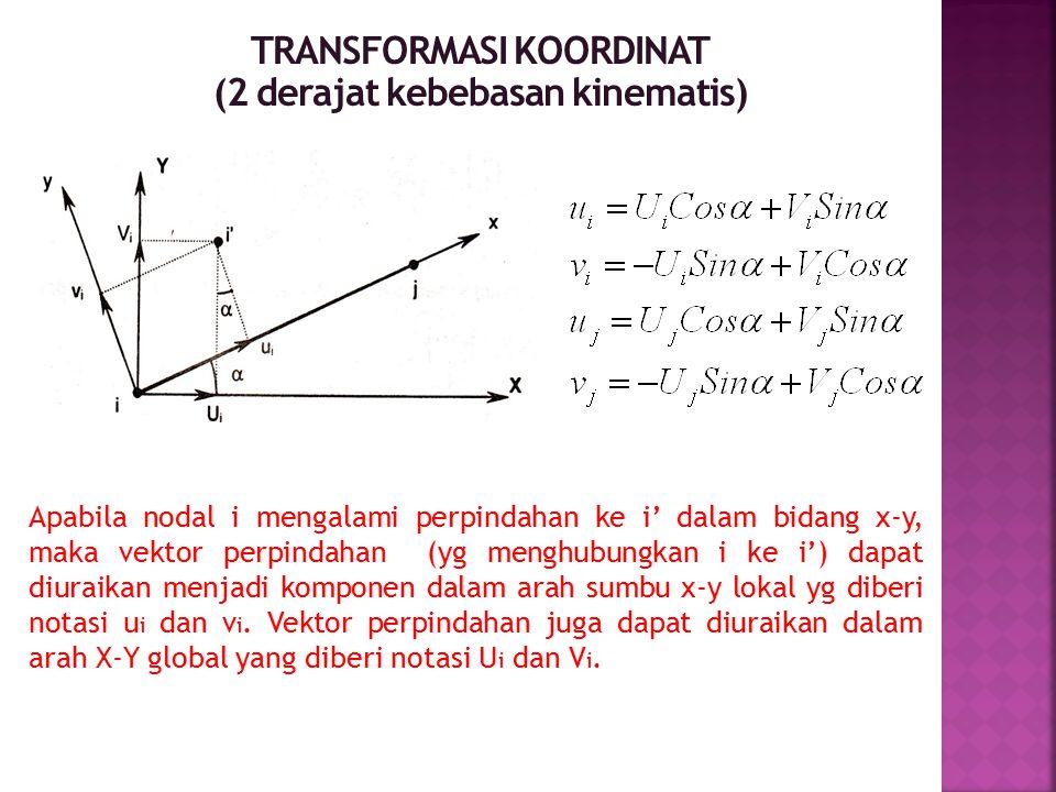 TRANSFORMASI KOORDINAT (2 derajat kebebasan kinematis) Apabila nodal i mengalami perpindahan ke i' dalam bidang x-y, maka vektor perpindahan (yg mengh