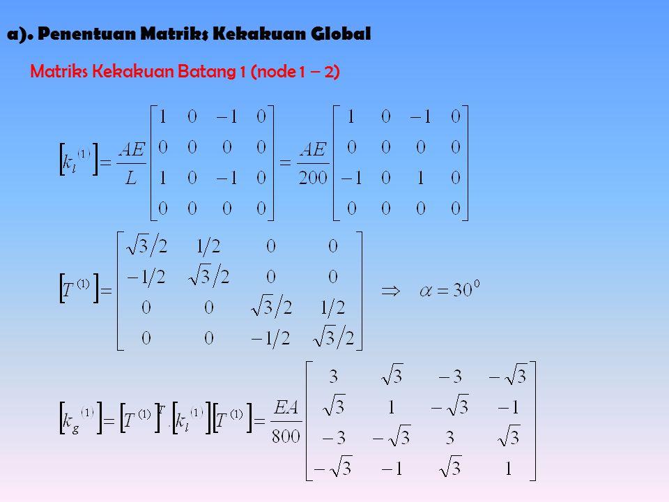 a). Penentuan Matriks Kekakuan Global Matriks Kekakuan Batang 1 (node 1 – 2)