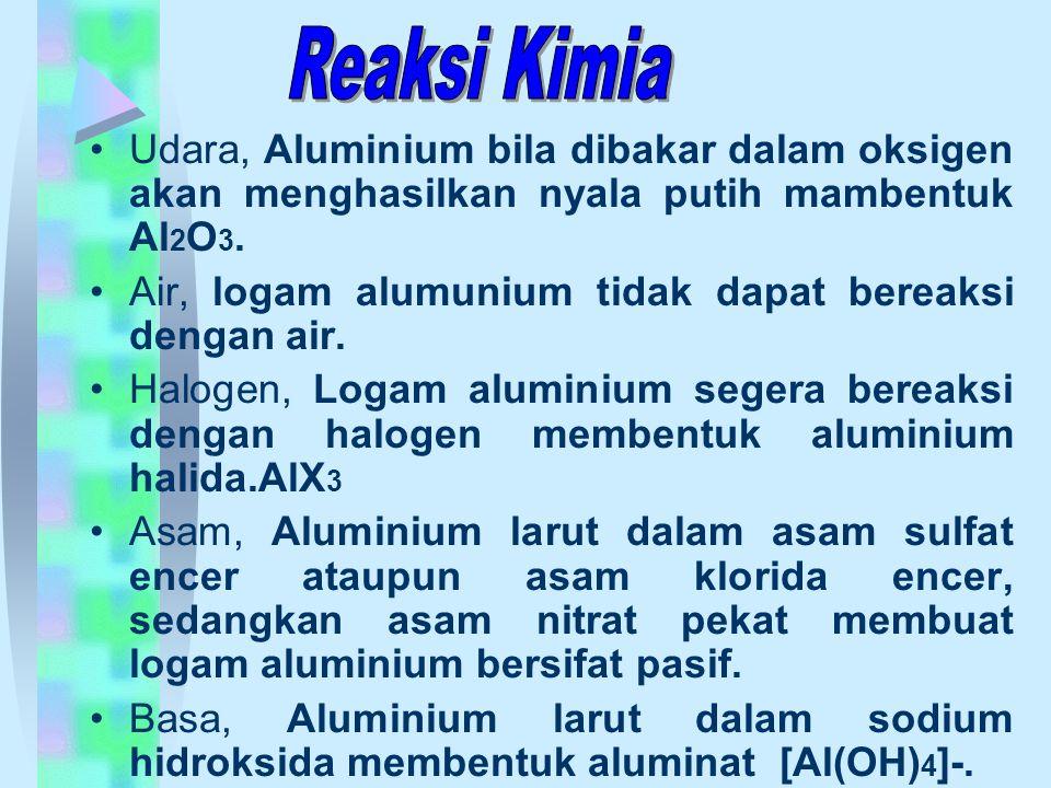 Udara, Aluminium bila dibakar dalam oksigen akan menghasilkan nyala putih mambentuk Al 2 O 3. Air, logam alumunium tidak dapat bereaksi dengan air. Ha