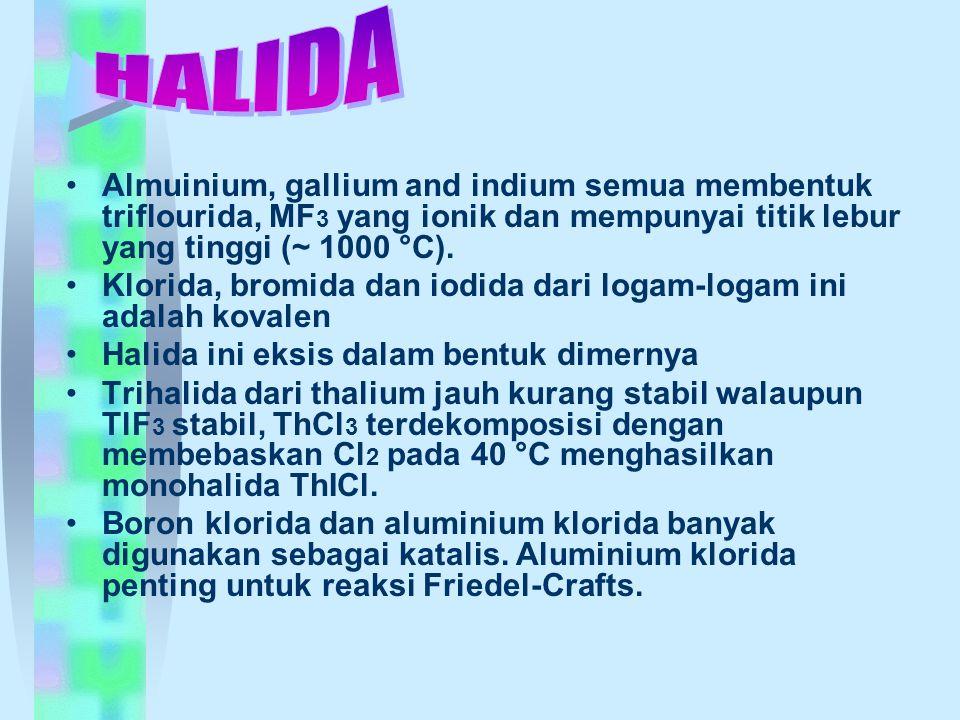 Almuinium, gallium and indium semua membentuk triflourida, MF 3 yang ionik dan mempunyai titik lebur yang tinggi (~ 1000 °C). Klorida, bromida dan iod