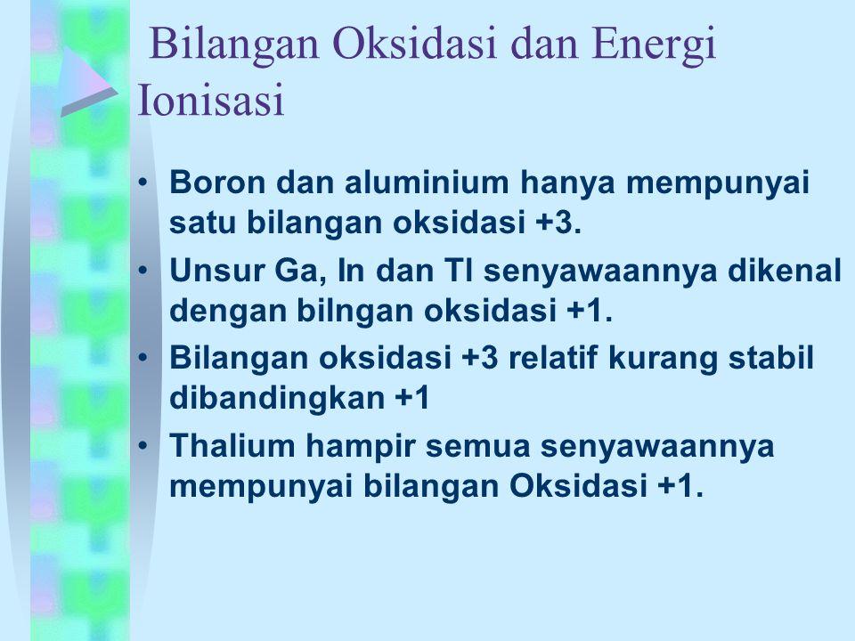 Bilangan Oksidasi dan Energi Ionisasi Boron dan aluminium hanya mempunyai satu bilangan oksidasi +3. Unsur Ga, In dan Tl senyawaannya dikenal dengan b