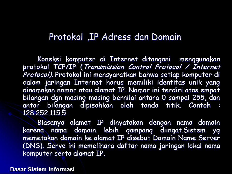 Protokol,IP Adress dan Domain Koneksi komputer di Internet ditangani menggunakan protokol TCP/IP (Transmission Control Protocol / Internet Protocol).