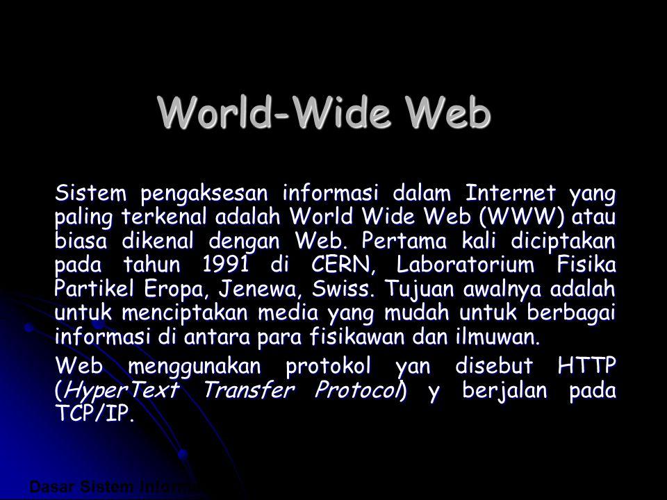 World-Wide Web Sistem pengaksesan informasi dalam Internet yang paling terkenal adalah World Wide Web (WWW) atau biasa dikenal dengan Web. Pertama kal