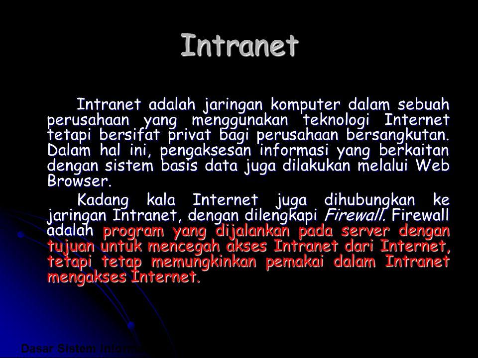 Intranet Intranet adalah jaringan komputer dalam sebuah perusahaan yang menggunakan teknologi Internet tetapi bersifat privat bagi perusahaan bersangk