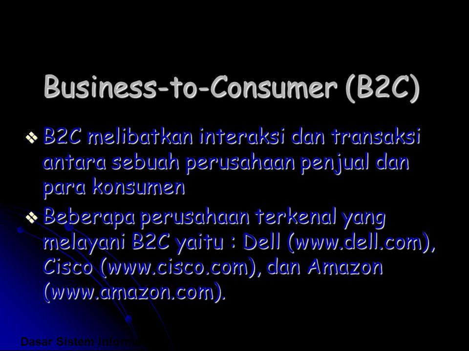 Business-to-Consumer (B2C)  B2C melibatkan interaksi dan transaksi antara sebuah perusahaan penjual dan para konsumen  Beberapa perusahaan terkenal