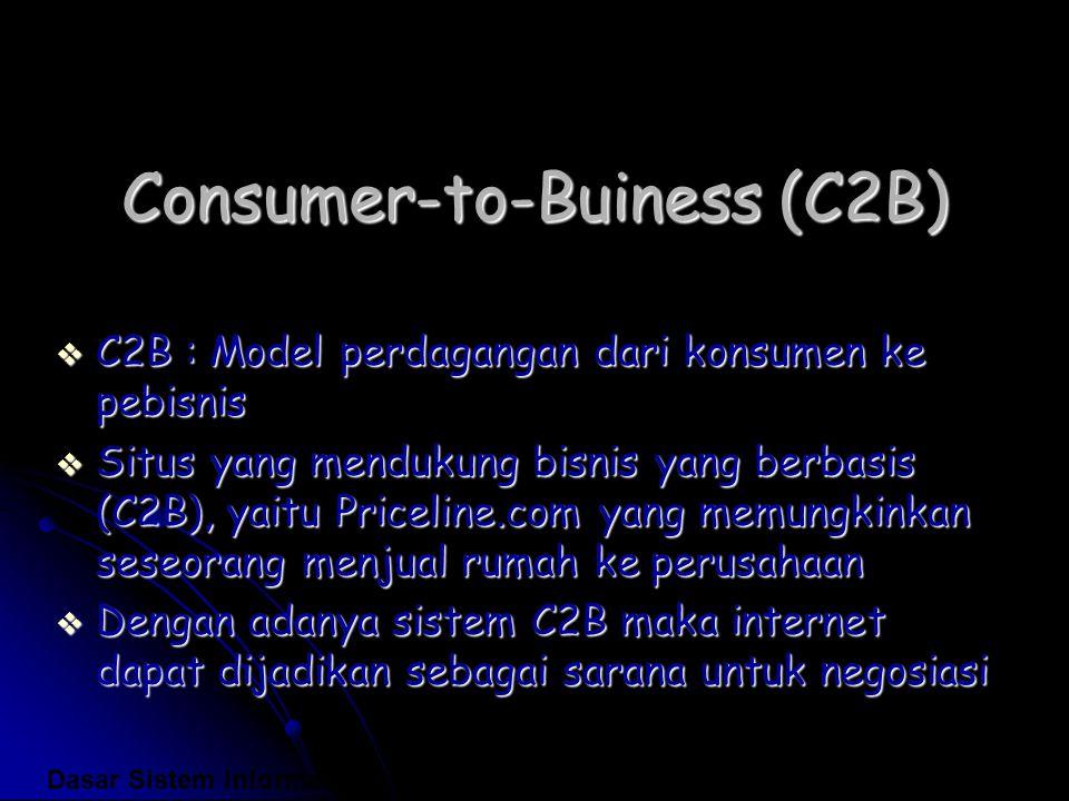 Consumer-to-Buiness (C2B)  C2B : Model perdagangan dari konsumen ke pebisnis  Situs yang mendukung bisnis yang berbasis (C2B), yaitu Priceline.com y
