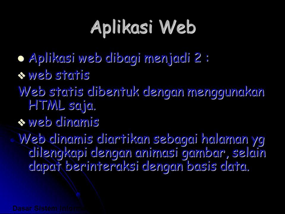 Aplikasi Web Aplikasi web dibagi menjadi 2 : Aplikasi web dibagi menjadi 2 :  web statis Web statis dibentuk dengan menggunakan HTML saja.  web dina