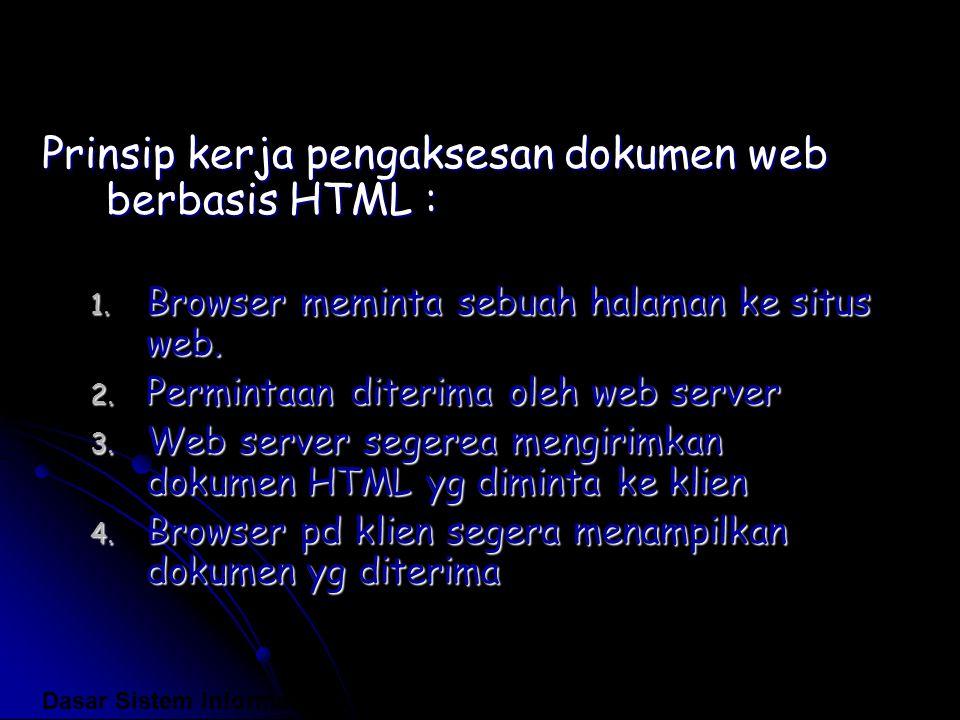 Prinsip kerja pengaksesan dokumen web berbasis HTML : 1. Browser meminta sebuah halaman ke situs web. 2. Permintaan diterima oleh web server 3. Web se