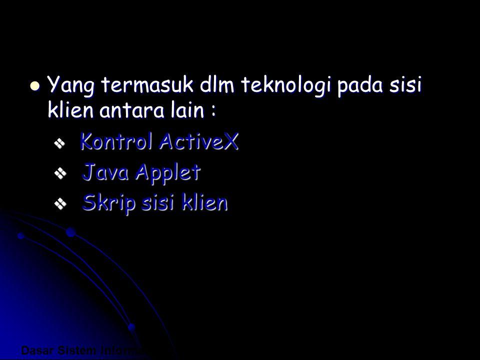 Yang termasuk dlm teknologi pada sisi klien antara lain : Yang termasuk dlm teknologi pada sisi klien antara lain :  Kontrol ActiveX  Java Applet 