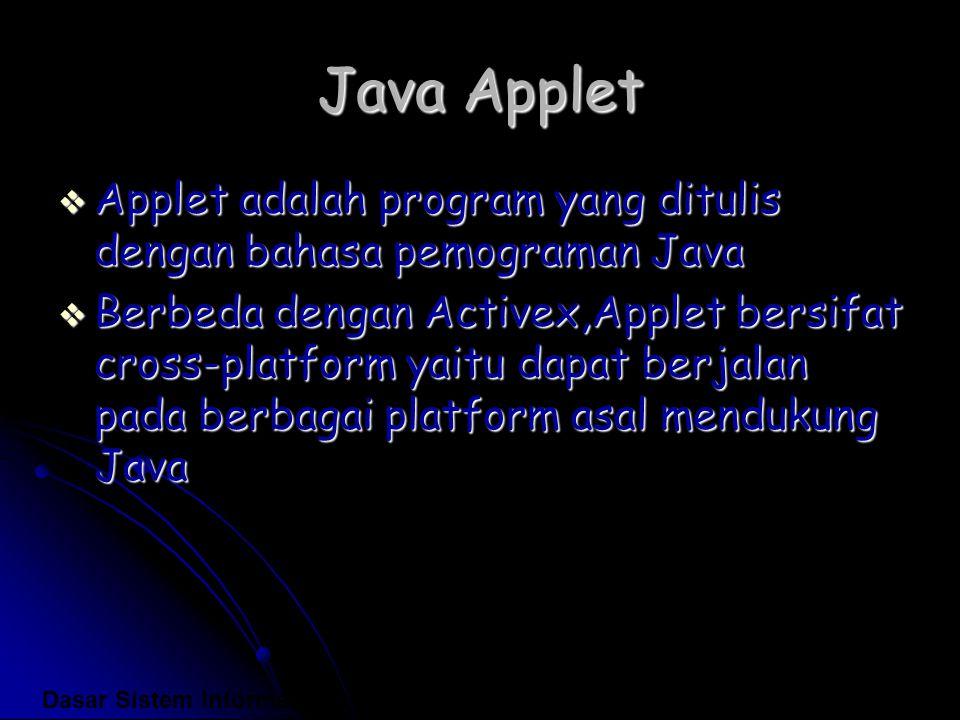 Java Applet  Applet adalah program yang ditulis dengan bahasa pemograman Java  Berbeda dengan Activex,Applet bersifat cross-platform yaitu dapat ber