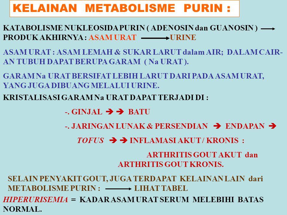 KELAINAN METABOLISME PURIN : KATABOLISME NUKLEOSIDA PURIN ( ADENOSIN dan GUANOSIN ) PRODUK AKHIRNYA : ASAM URAT URINE ASAM URAT : ASAM LEMAH & SUKAR L