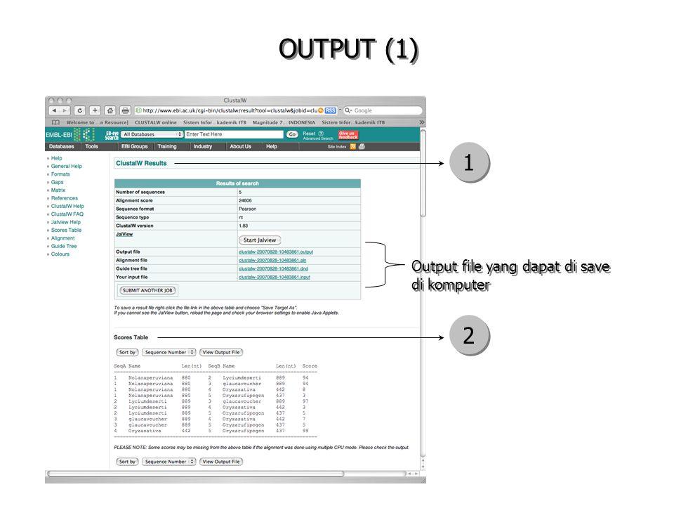 OUTPUT (1) Output file yang dapat di save di komputer 1 1 2 2