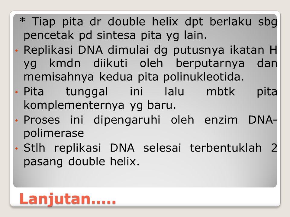 Lanjutan..... * Tiap pita dr double helix dpt berlaku sbg pencetak pd sintesa pita yg lain. Replikasi DNA dimulai dg putusnya ikatan H yg kmdn diikuti