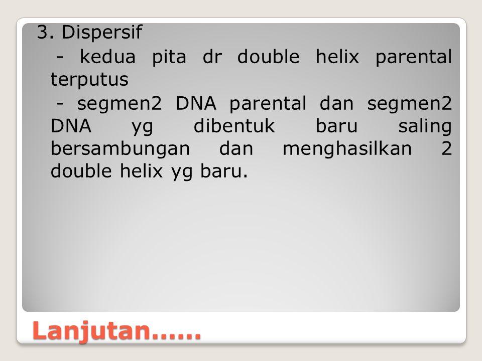 Lanjutan...... 3. Dispersif - kedua pita dr double helix parental terputus - segmen2 DNA parental dan segmen2 DNA yg dibentuk baru saling bersambungan