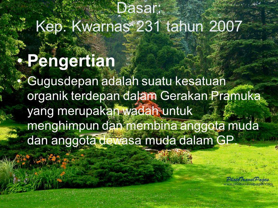 Dasar: Kep. Kwarnas 231 tahun 2007 Pengertian Gugusdepan adalah suatu kesatuan organik terdepan dalam Gerakan Pramuka yang merupakan wadah untuk mengh