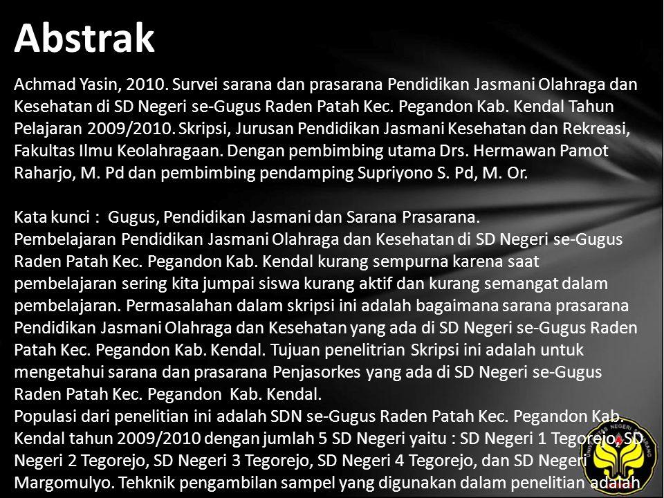 Abstrak Achmad Yasin, 2010. Survei sarana dan prasarana Pendidikan Jasmani Olahraga dan Kesehatan di SD Negeri se-Gugus Raden Patah Kec. Pegandon Kab.