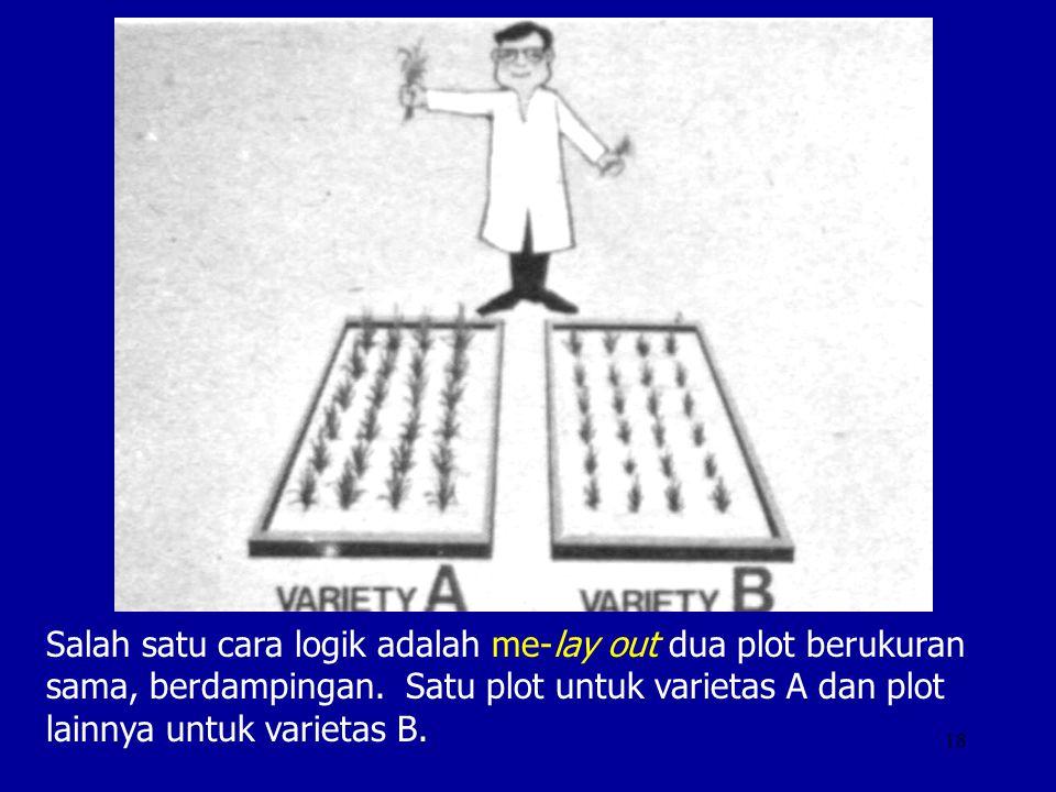 18 Salah satu cara logik adalah me-lay out dua plot berukuran sama, berdampingan. Satu plot untuk varietas A dan plot lainnya untuk varietas B.