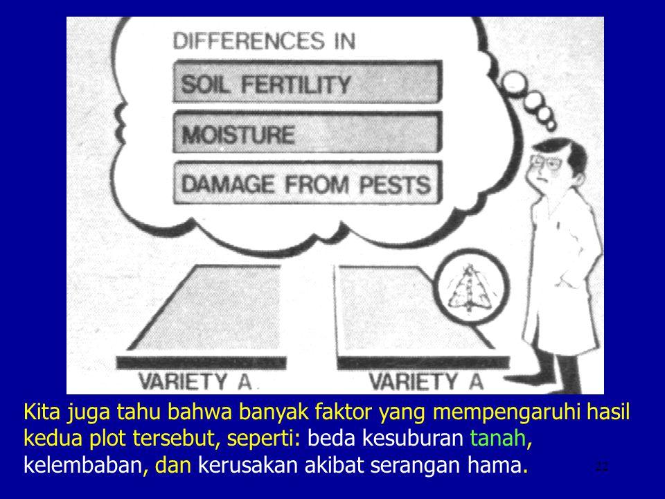 22 Kita juga tahu bahwa banyak faktor yang mempengaruhi hasil kedua plot tersebut, seperti: beda kesuburan tanah, kelembaban, dan kerusakan akibat ser