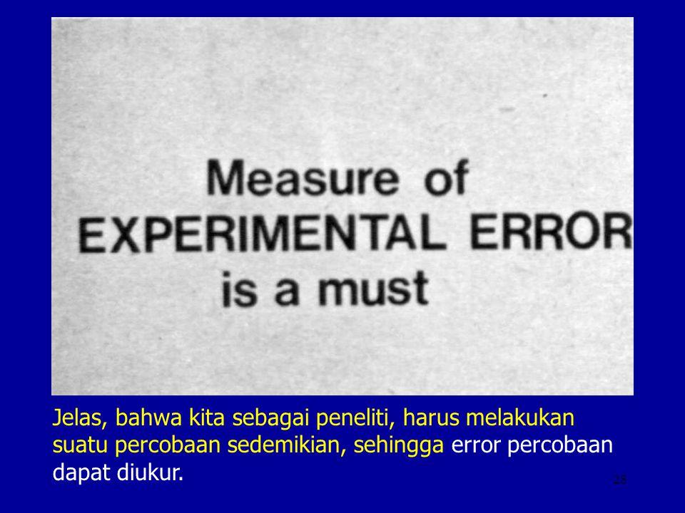 28 Jelas, bahwa kita sebagai peneliti, harus melakukan suatu percobaan sedemikian, sehingga error percobaan dapat diukur.
