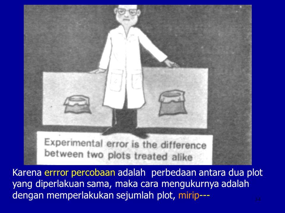 34 Karena errror percobaan adalah perbedaan antara dua plot yang diperlakuan sama, maka cara mengukurnya adalah dengan memperlakukan sejumlah plot, mi