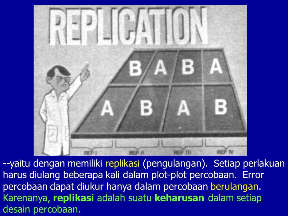 35 --yaitu dengan memiliki replikasi (pengulangan). Setiap perlakuan harus diulang beberapa kali dalam plot-plot percobaan. Error percobaan dapat diuk