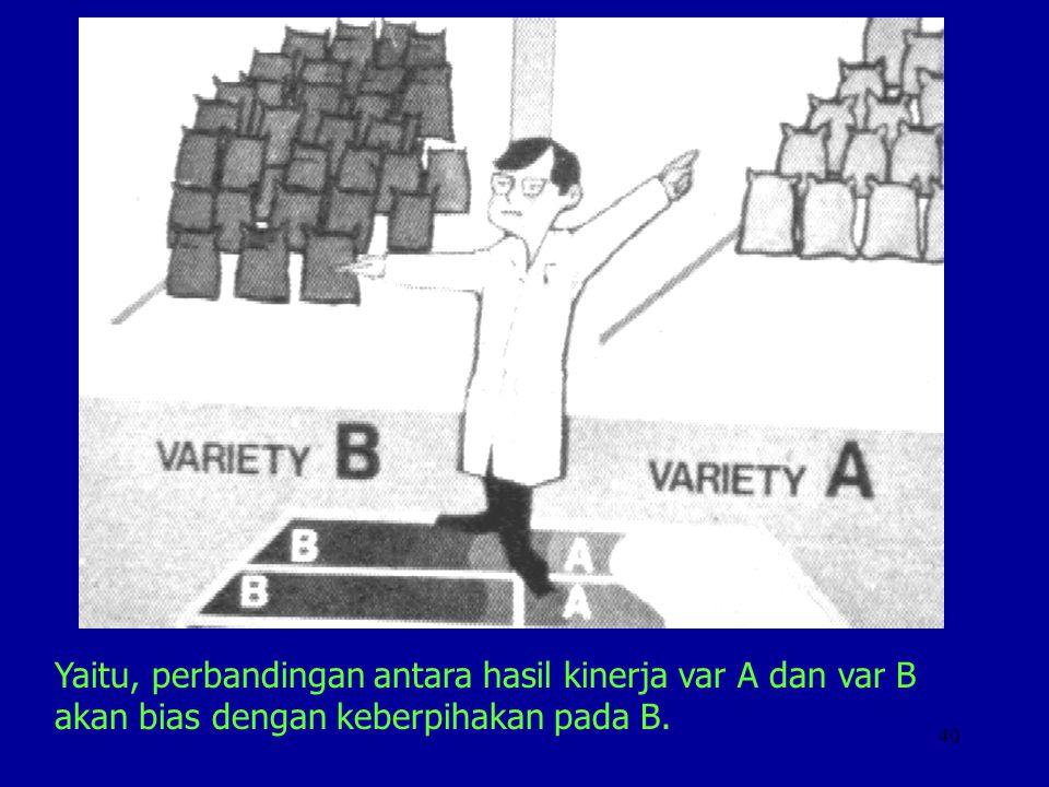 40 Yaitu, perbandingan antara hasil kinerja var A dan var B akan bias dengan keberpihakan pada B.