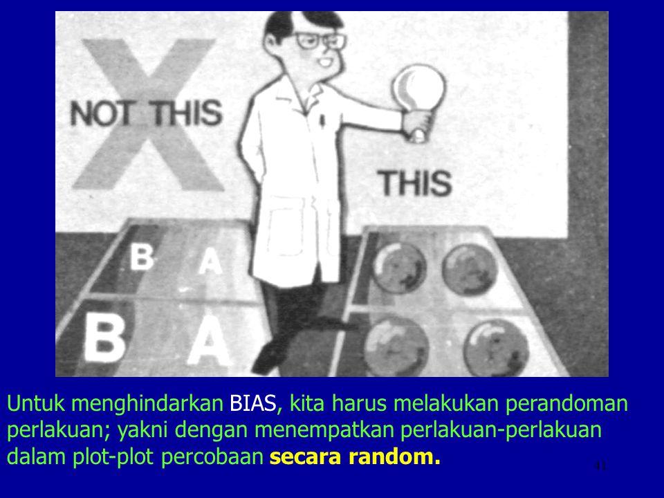 41 Untuk menghindarkan BIAS, kita harus melakukan perandoman perlakuan; yakni dengan menempatkan perlakuan-perlakuan dalam plot-plot percobaan secara