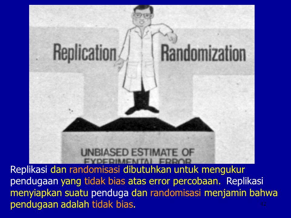 42 Replikasi dan randomisasi dibutuhkan untuk mengukur pendugaan yang tidak bias atas error percobaan. Replikasi menyiapkan suatu penduga dan randomis
