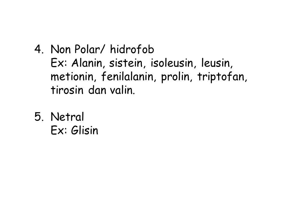 4.Non Polar/ hidrofob Ex: Alanin, sistein, isoleusin, leusin, metionin, fenilalanin, prolin, triptofan, tirosin dan valin. 5.Netral Ex: Glisin