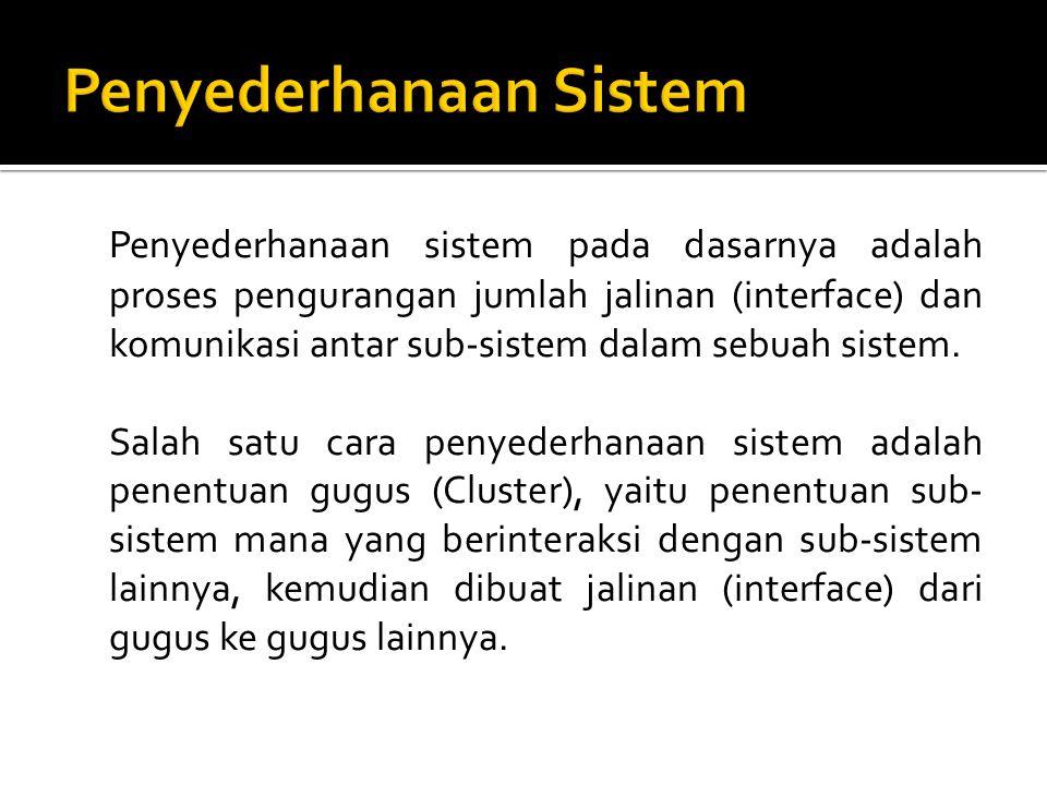 Penyederhanaan sistem pada dasarnya adalah proses pengurangan jumlah jalinan (interface) dan komunikasi antar sub-sistem dalam sebuah sistem. Salah sa