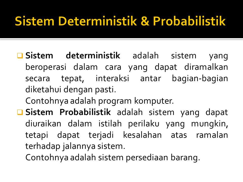  Sistem deterministik adalah sistem yang beroperasi dalam cara yang dapat diramalkan secara tepat, interaksi antar bagian-bagian diketahui dengan pas