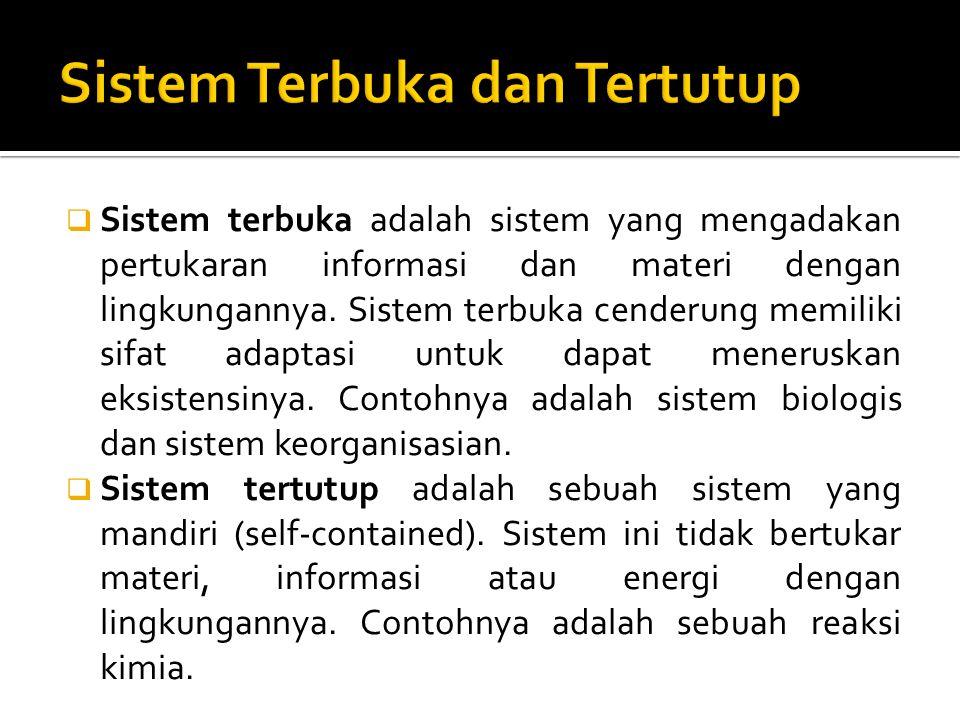  Sistem terbuka adalah sistem yang mengadakan pertukaran informasi dan materi dengan lingkungannya. Sistem terbuka cenderung memiliki sifat adaptasi