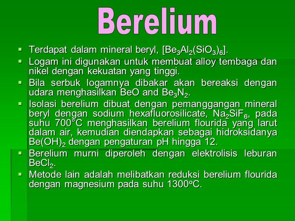  Terdapat dalam mineral beryl, [Be 3 Al 2 (SiO 3 ) 6 ].  Logam ini digunakan untuk membuat alloy tembaga dan nikel dengan kekuatan yang tinggi.  Bi