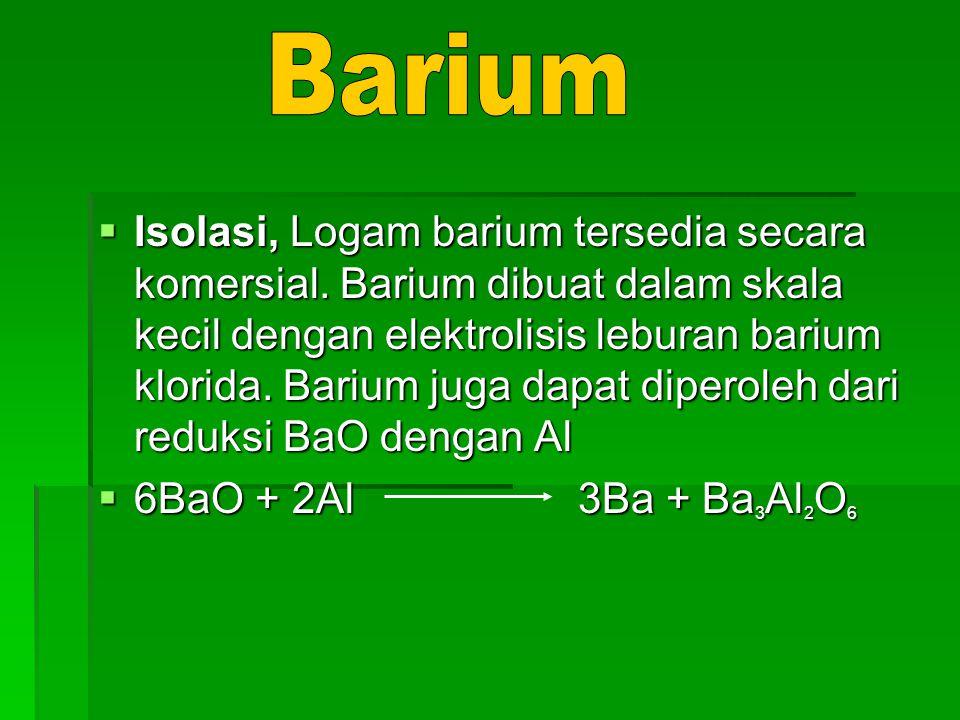  Isolasi, Logam barium tersedia secara komersial. Barium dibuat dalam skala kecil dengan elektrolisis leburan barium klorida. Barium juga dapat diper