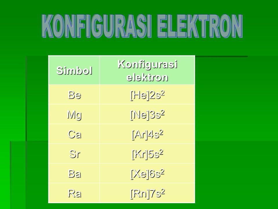 Simbol Konfigurasi elektron Be [He]2s 2 Mg [Ne]3s 2 Ca [Ar]4s 2 Sr [Kr]5s 2 Ba [Xe]6s 2 Ra [Rn]7s 2