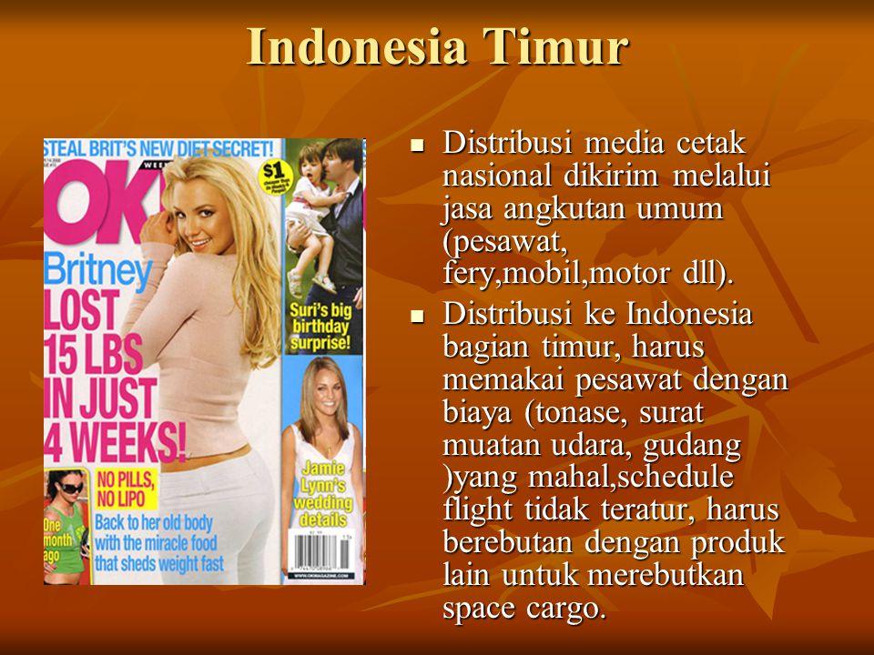 Indonesia Timur Distribusi media cetak nasional dikirim melalui jasa angkutan umum (pesawat, fery,mobil,motor dll). Distribusi media cetak nasional di