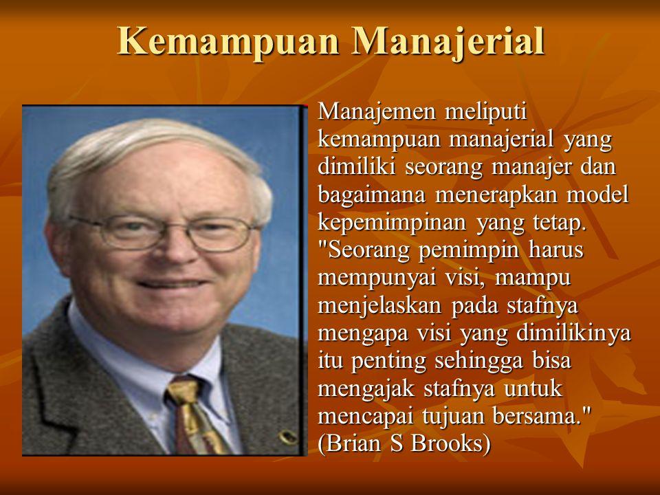 Kemampuan Manajerial Manajemen meliputi kemampuan manajerial yang dimiliki seorang manajer dan bagaimana menerapkan model kepemimpinan yang tetap.