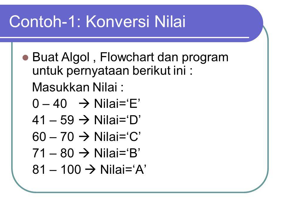 Contoh-1: Konversi Nilai Buat Algol, Flowchart dan program untuk pernyataan berikut ini : Masukkan Nilai : 0 – 40  Nilai='E' 41 – 59  Nilai='D' 60 –