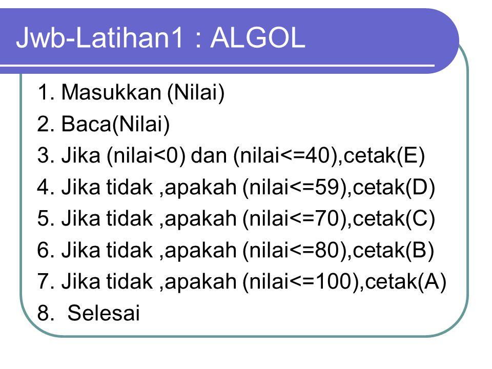 Jwb-Latihan1 : ALGOL 1. Masukkan (Nilai) 2. Baca(Nilai) 3. Jika (nilai<0) dan (nilai<=40),cetak(E) 4. Jika tidak,apakah (nilai<=59),cetak(D) 5. Jika t
