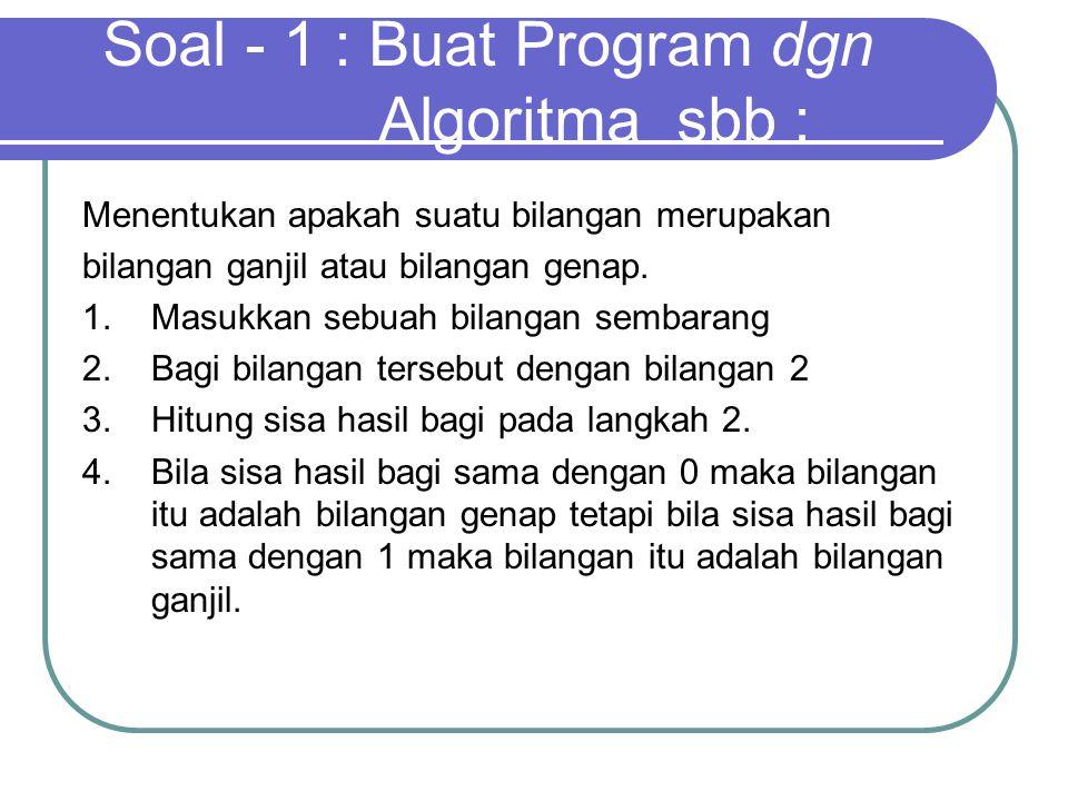 Menentukan apakah suatu bilangan merupakan bilangan ganjil atau bilangan genap. 1. Masukkan sebuah bilangan sembarang 2. Bagi bilangan tersebut dengan