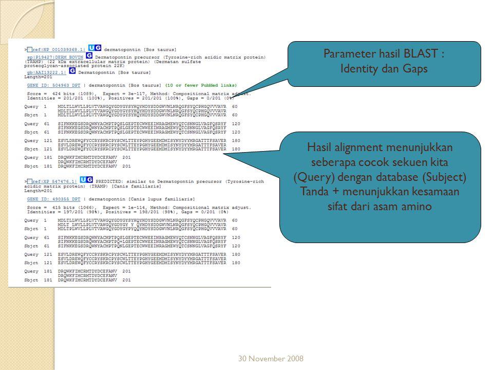 30 November 2008 Parameter hasil BLAST : Identity dan Gaps Hasil alignment menunjukkan seberapa cocok sekuen kita (Query) dengan database (Subject) Ta