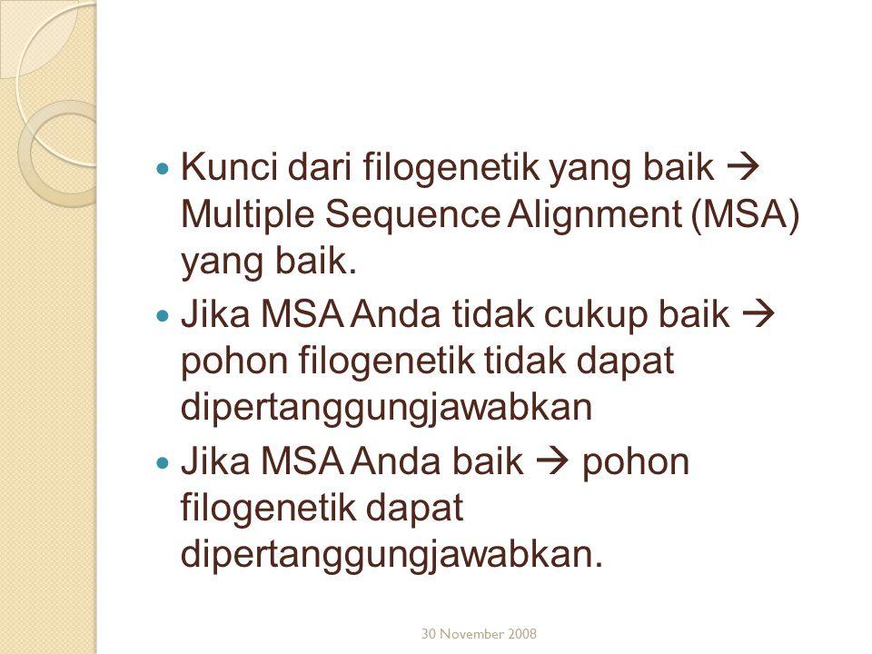 Kunci dari filogenetik yang baik  Multiple Sequence Alignment (MSA) yang baik. Jika MSA Anda tidak cukup baik  pohon filogenetik tidak dapat diperta
