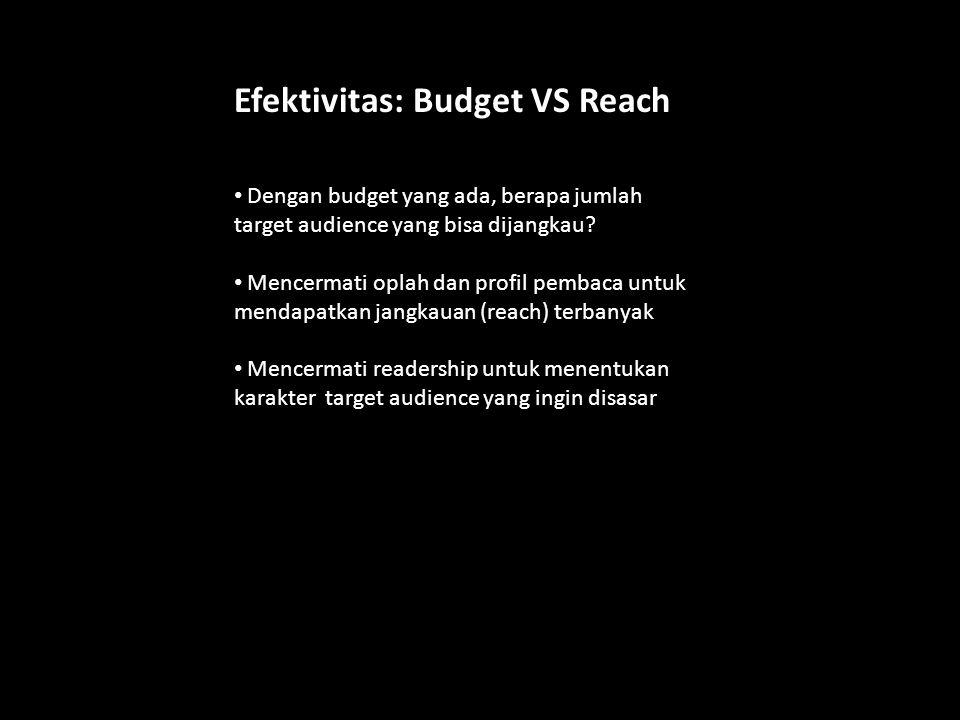 Efektivitas: Budget VS Reach Dengan budget yang ada, berapa jumlah target audience yang bisa dijangkau? Mencermati oplah dan profil pembaca untuk mend