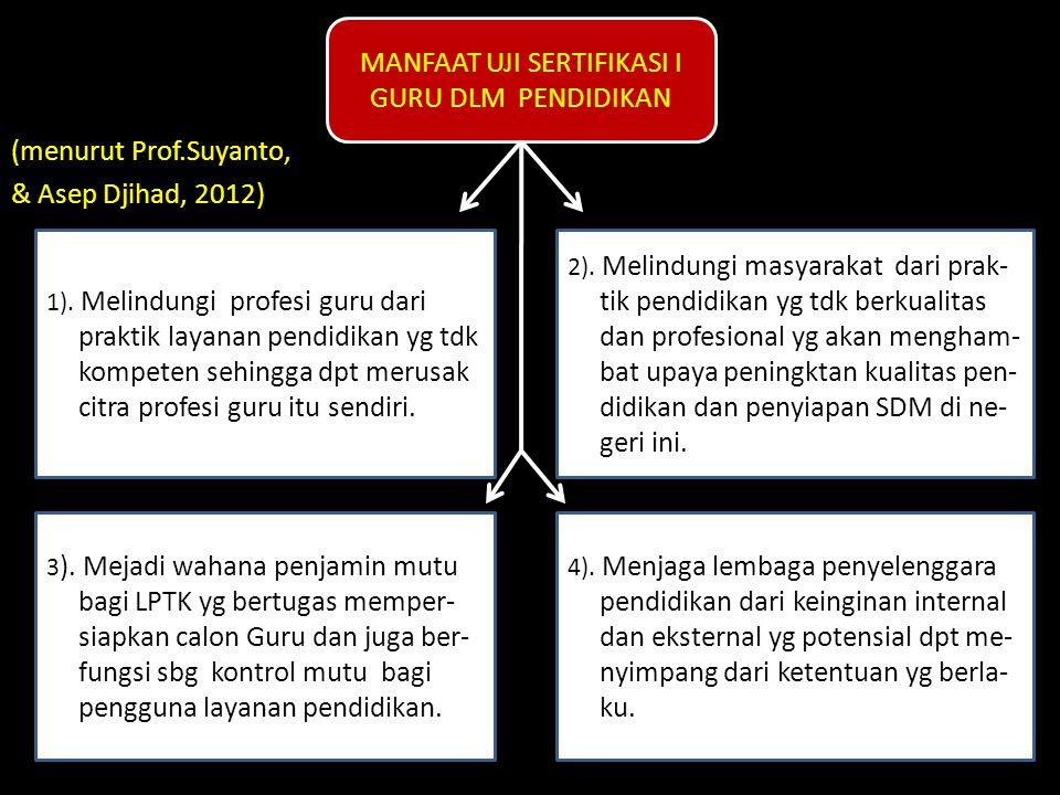 (menurut Prof.Suyanto, & Asep Djihad, 2012) MANFAAT UJI SERTIFIKASI I GURU DLM PENDIDIKAN 1). Melindungi profesi guru dari praktik layanan pendidikan