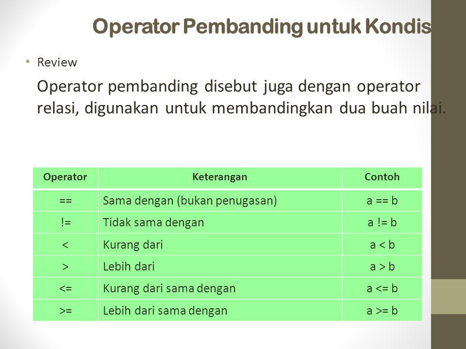 Operator Pembanding untuk Kondisi Review Operator pembanding disebut juga dengan operator relasi, digunakan untuk membandingkan dua buah nilai. Operat