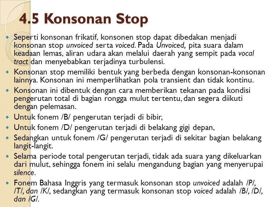 4.5 Konsonan Stop Seperti konsonan frikatif, konsonen stop dapat dibedakan menjadi konsonan stop unvoiced serta voiced. Pada Unvoiced, pita suara dala