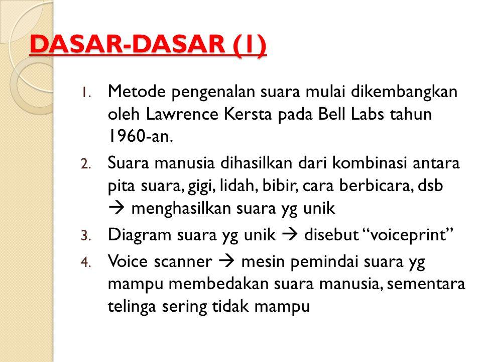 DASAR-DASAR (1) 1. Metode pengenalan suara mulai dikembangkan oleh Lawrence Kersta pada Bell Labs tahun 1960-an. 2. Suara manusia dihasilkan dari komb