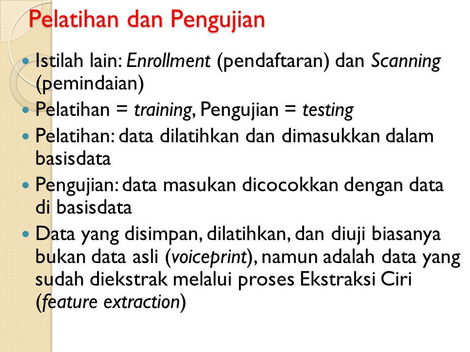 Pelatihan dan Pengujian Istilah lain: Enrollment (pendaftaran) dan Scanning (pemindaian) Pelatihan = training, Pengujian = testing Pelatihan: data dil